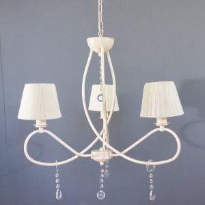 Κρεμαστό φωτιστικό 3 φώτα με υφασμάτινο καπέλο σε λευκή απόχρωση