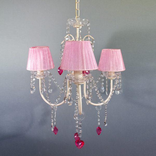 Κρεμαστό φωτιστικό 3 φώτα με ρόζ καπέλα σε λευκή απόχρωση
