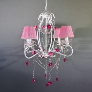 Κρεμαστό φωτιστικό 4 φώτα με ροζ καπέλα σε λευκή απόχρωση