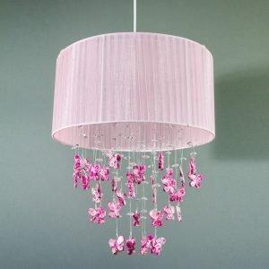 Κρεμαστό φωτιστικό με υφασμάτινο ροζ καπέλο E27