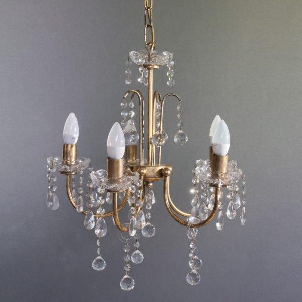 Κρεμαστό φωτιστικό 5 φώτα σε χρυσό αντικέ απόχρωση