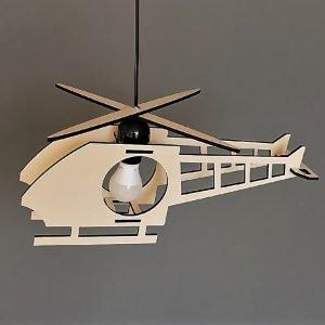 Παιδικό φωτιστικό κρεμαστό ξύλινο σχήμα ελικόπτερο με μακρύ πτερύγιο