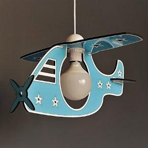 Παιδικό φωτιστικό κρεμαστό ξύλινο γαλάζιο ελικόπτερο
